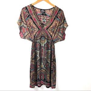 Angie Boho Studded V-neck Dress